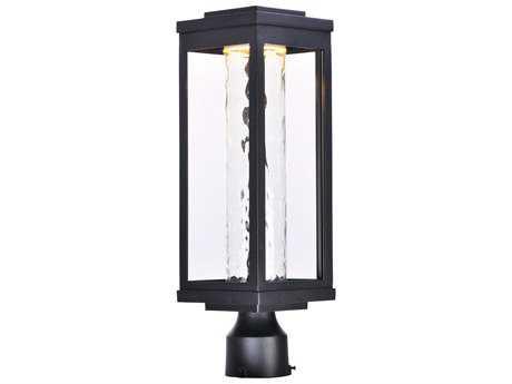 Maxim Lighting Salon Black with Water Glass LED Outdoor Post Light MX55900WGBK