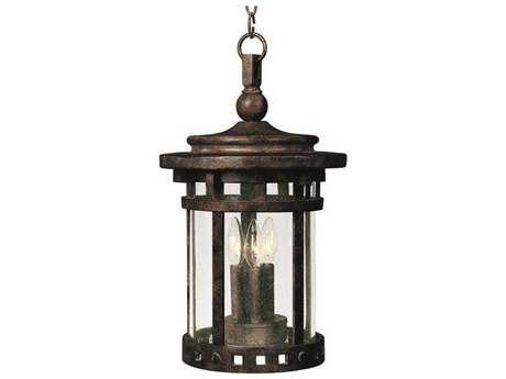 Maxim Lighting Santa Barbara DC Sienna & Seedy Glass Three-Light 9'' Wide Incandescent Outdoor Hanging Light