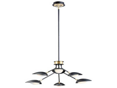 Maxim Lighting Scan Black / Satin Brass 35'' Wide LED Medium Chandelier MX21696BKSBR