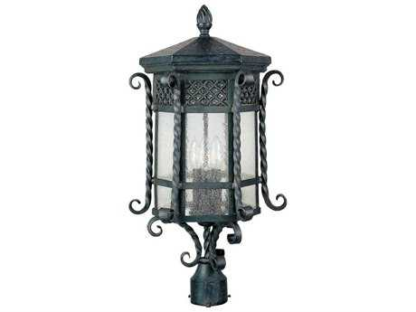 Maxim Lighting Scottsdale Country Forge & Seedy Glass Three-Light 11'' Wide Incandescent Outdoor Post Light