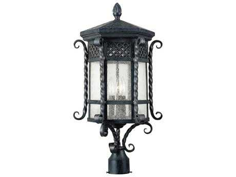 Maxim Lighting Scottsdale Country Forge & Seedy Glass Three-Light 12.5'' Wide Incandescent Outdoor Post Light MX30121CDCF
