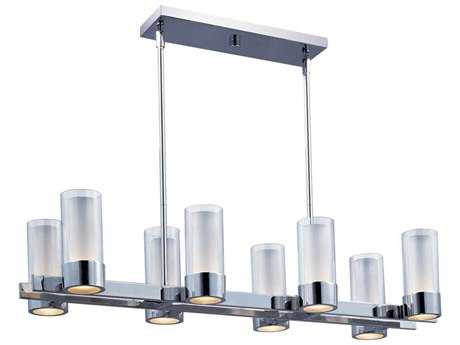 Maxim Lighting Silo Polished Chrome & Clear-Frosted Eight-Light 35'' Long Island Light MX23079CLFTPC