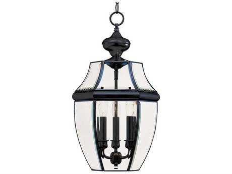 Maxim Lighting South Park Black & Clear Glass Three-Light 12'' Wide Outdoor Hanging Light