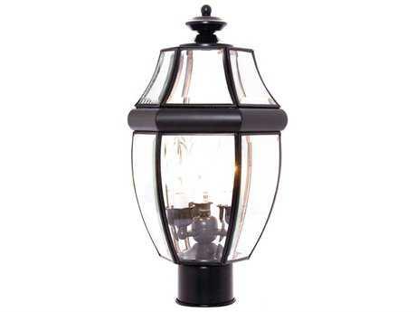 Maxim Lighting South Park Black & Clear Glass Three-Light 9.5'' Wide Outdoor Post Light MX6097CLBK