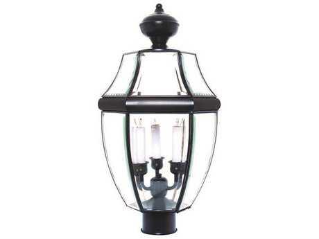 Maxim Lighting South Park Black & Clear Glass Three-Light 12'' Wide Outdoor Post Light MX6098CLBK
