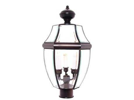Maxim Lighting South Park Burnished & Clear Glass Three-Light 12'' Wide Outdoor Post Light MX6098CLBU