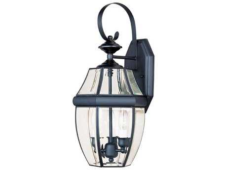 Maxim Lighting South Park Black & Clear Glass Three-Light 9.5'' Wide Outdoor Wall Light MX4191CLBK