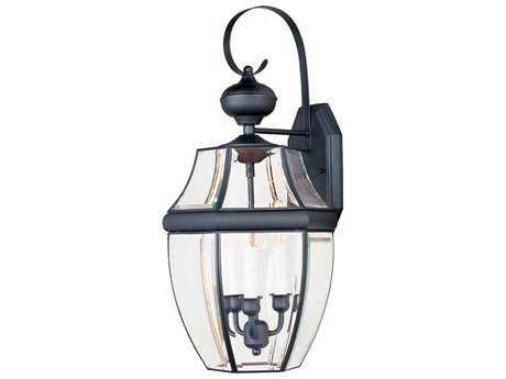Maxim Lighting South Park Black & Clear Glass Three-Light 12'' Wide Outdoor Wall Light MX4192CLBK
