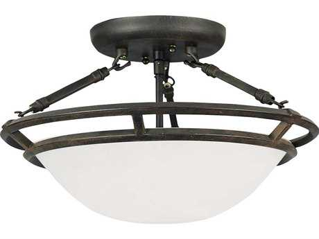 Maxim Lighting Stratus Bronze & Marble Glass Three-Light 14.5'' Wide Semi-Flush Mount Light MX2670MRBZ