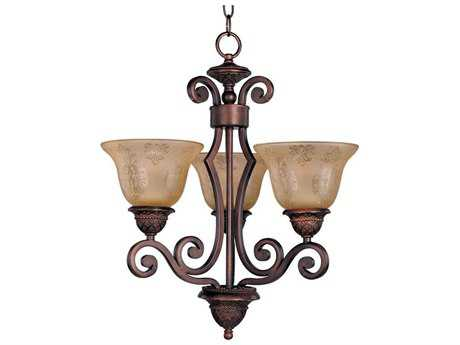 Maxim Lighting Symphony Oil Rubbed Bronze Three-Light 19 Wide Chandelier with Screen Amber Glass MX11235SAOI
