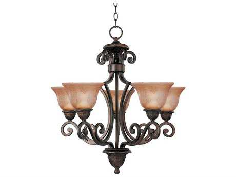 Maxim Lighting Symphony Oil Rubbed Bronze Five-Light 26 Wide Chandelier with Screen Amber Glass MX11244SAOI