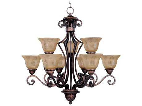 Maxim Lighting Symphony Oil Rubbed Bronze Nine-Light 32 Wide Chandelier with Screen Amber Glass MX11245SAOI