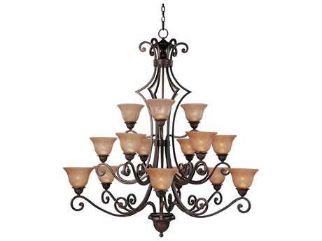 Maxim Lighting Symphony Oil Rubbed Bronze 15-Light 49 Wide Grand Chandelier with Screen Amber Glass