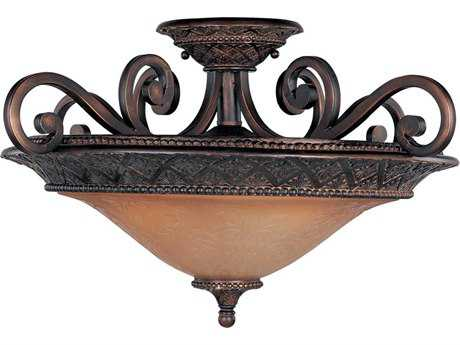 Maxim Lighting Symphony Oil Rubbed Bronze & Screen Amber Glass Three-Light 22.5'' Wide Semi-Flush Mount Light MX11241SAOI