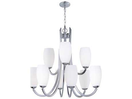 Maxim Lighting Taylor Satin Nickel with Satin White Glass Nine-Light 32'' Wide Chandelier
