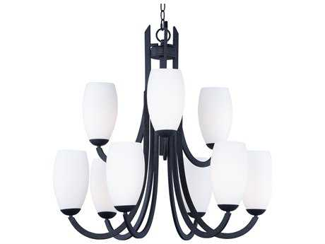 Maxim Lighting Taylor Textured Black with Satin White Glass Nine-Light 32'' Wide Chandelier