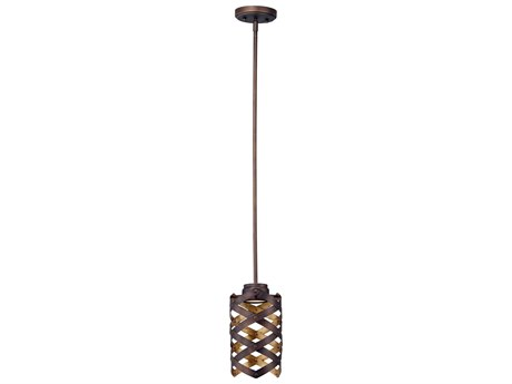 Maxim Lighting Weave Bronze Gilt / Gold  6'' Wide LED Mini-Pendant Light MX35059BZGTGLD