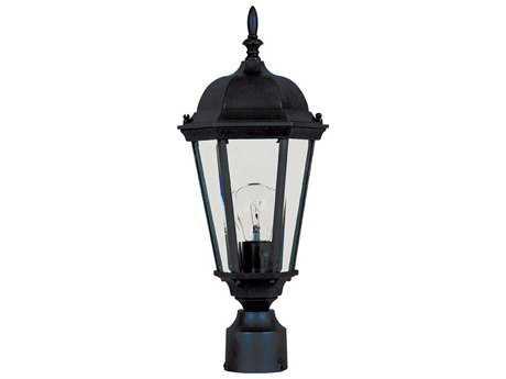 Maxim Lighting Westlake Black & Clear Glass 8'' Wide Incnadescent Outdoor Post Light MX1001BK