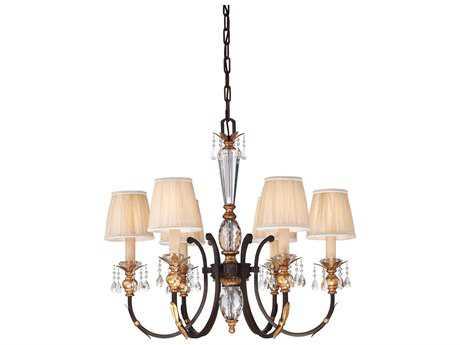 Metropolitan Lighting Bella Cristallo French Bronze with Gold Highlight Six-Lights 32'' Wide Chandelier METN6646258B