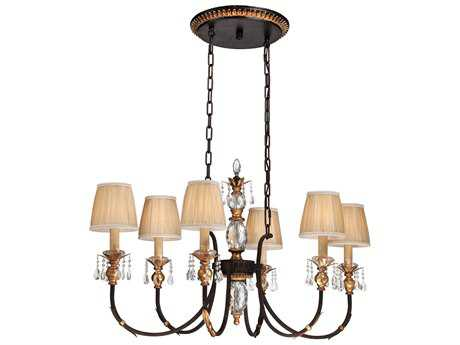 Metropolitan Lighting Bella Cristallo French Bronze with Gold Highlight Six-Lights 42'' Wide Island Light METN6640258B