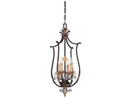 Metropolitan Lighting Bella Cristallo French Bronze with Gold Highlight Four-Lights 17'' Wide Pendant Light METN6644258B