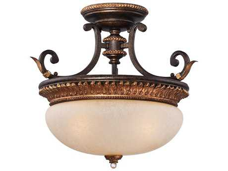 Metropolitan Lighting Bella Cristallo French Bronze with Gold Highlight Three-Lights 18'' Wide Semi-Flush Mount Light METN6642258B