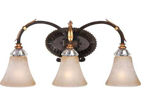 Metropolitan Lighting Bella Cristallo French Bronze with Gold Highligh Three-Lights Vanity Light METN2693258B