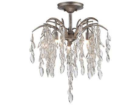 Metropolitan Lighting Bella Flora Silver Mist Five-Lights 20.5'' Wide Semi-Flush Mount Light METN6865278