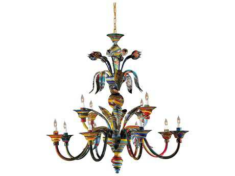 Metropolitan Lighting Camer Red & Yellow 12-Lights 45'' Wide Grand Chandelier METC705612