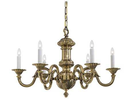 Metropolitan Lighting Classic Brass Six-Lights 29.5'' Wide Chandelier
