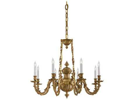Metropolitan Lighting Classic Brass Eight-Lights 33'' Wide Chandelier METN700408