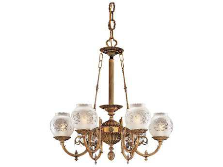 Metropolitan Lighting Antique Classic Brass Six-Lights 27'' Wide Chandelier METN801906