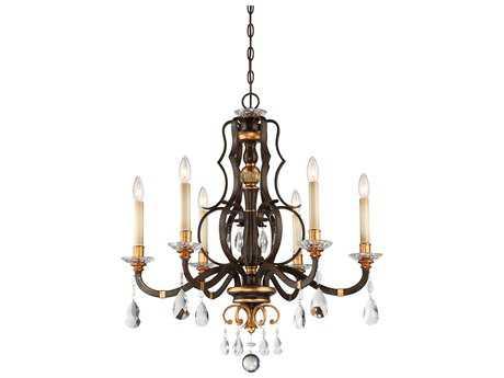 Metropolitan Lighting Chateau Nobles Raven Bronze with Sunburst Gold Leaf Highlights Six-Light 28'' Wide Chandelier METN6456652