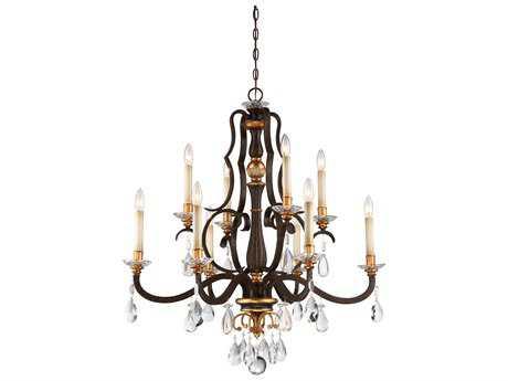Metropolitan Lighting Chateau Nobles Raven Bronze with Sunburst Gold Leaf Highlights Ten-Light 34'' Wide Chandelier METN6459652