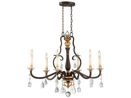 Metropolitan Lighting Chateau Nobles Raven Bronze with Sunburst Gold Leaf Highlights Six-Light 40'' Long Island Light