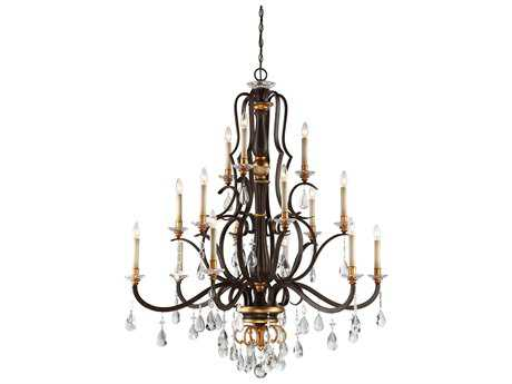 Metropolitan Lighting Chateau Nobles Raven Bronze with Sunburst Gold Leaf Highlights 15-Light 46'' Wide Grand Chandelier METN6458652