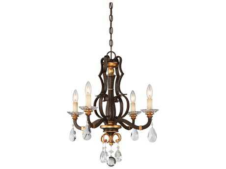 Metropolitan Lighting Chateau Nobles Raven Bronze with Sunburst Gold Leaf Highlights Four-Light 21'' Wide Mini Chandelier METN6454652