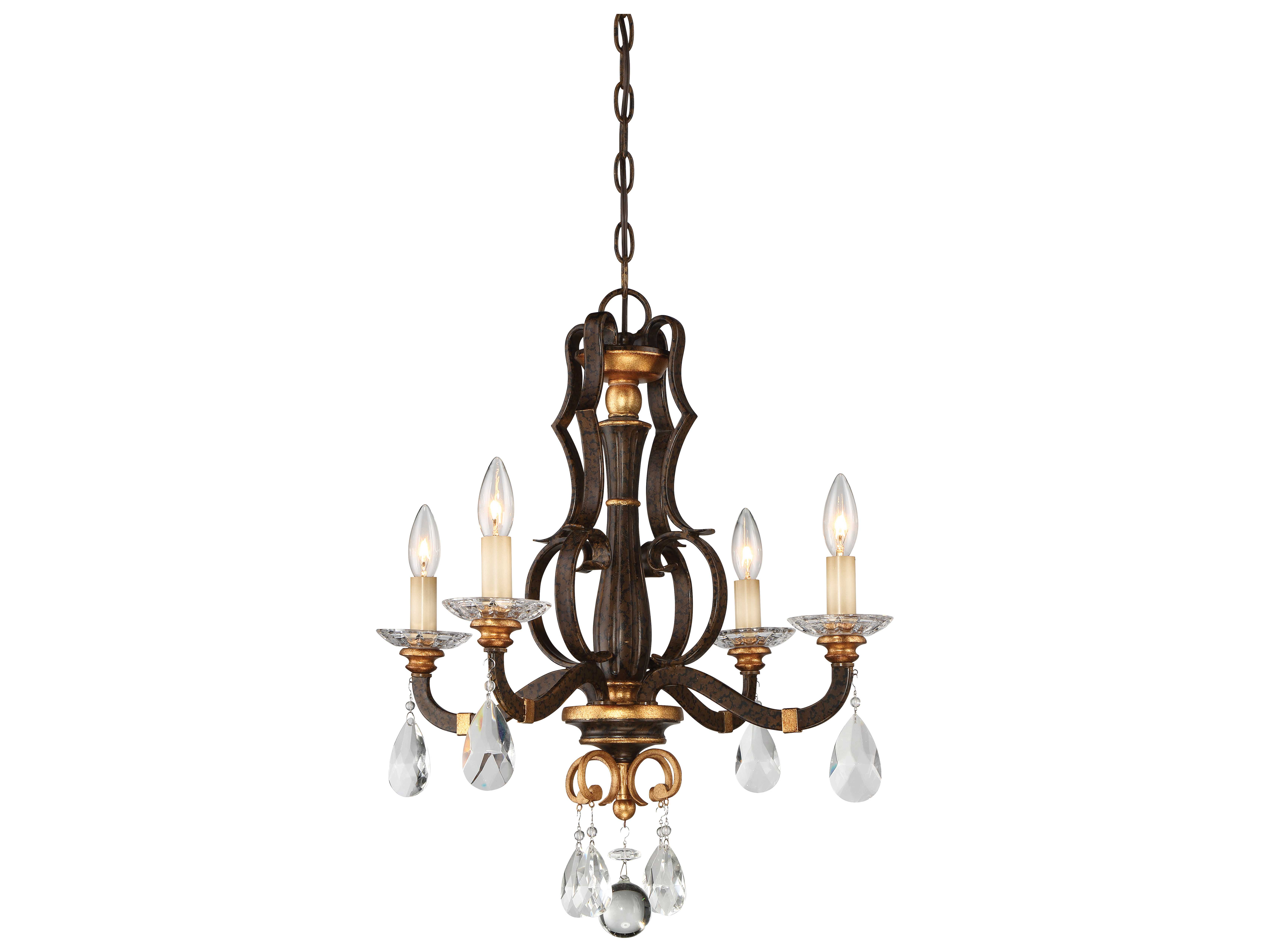 Metropolitan Lighting Cau Les Raven Bronze With Sunburst Gold Leaf Highlights Four Light 21 Wide Mini Chandelier