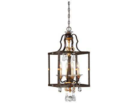 Metropolitan Lighting Chateau Nobles Raven Bronze with Sunburst Gold Leaf Highlights Four-Light 14'' Wide Mini Chandelier METN6463652