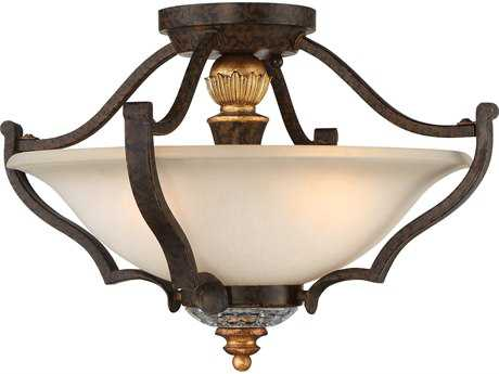 Metropolitan Lighting Chateau Nobles Raven Bronze with Sunburst Gold Leaf Highlights Three-Light 17'' Wide Semi Flush Light METN6450652