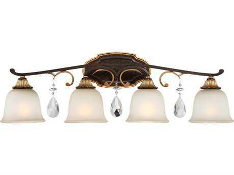 Metropolitan Lighting Chateau Nobles Raven Bronze with Sunburst Gold Leaf Highlights Four-Light Vanity Light METN1464652