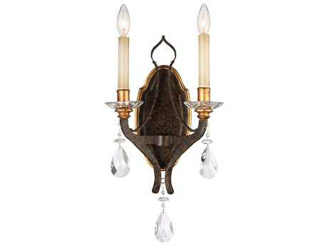 Metropolitan Lighting Chateau Nobles Raven Bronze with Sunburst Gold Leaf Highlights Two-Light Wall Sconce