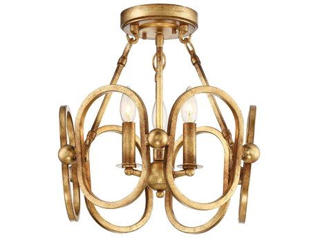 Metropolitan Lighting Clairpointe Pandora Gold Leaf Three-Light 17'' High Semi-Flush Mount Light METN6883293