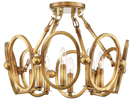 Metropolitan Lighting Clairpointe Pandora Gold Leaf Eight-Light 21'' Wide Semi-Flush Mount Light METN6884293