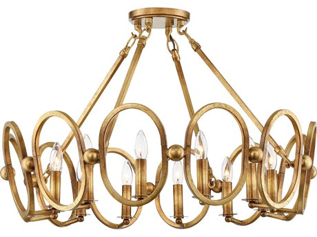 Metropolitan Lighting Clairpointe Pandora Gold Leaf 12-Light 30'' Wide Semi-Flush Mount Light METN6885293