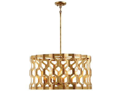 Metropolitan Lighting Coronade Pandora Gold Leaf Six-Light 26'' Wide Convertible Pendant / Semi-Flush Mount Light METN6776293