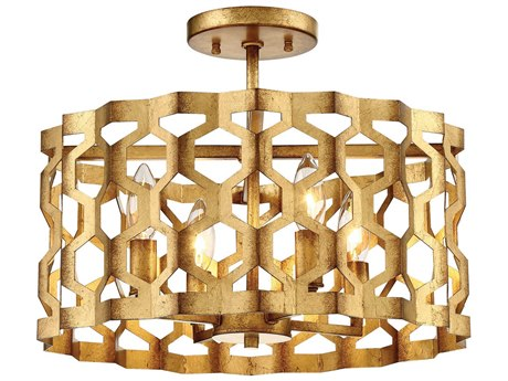 Metropolitan Lighting Coronade Pandora Gold Leaf Four-Light 16'' Wide Convertible Semi-Flush Mount / Pendant Light METN6772293