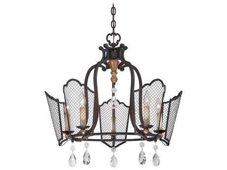 Metropolitan Lighting Cortona French Bronze with Gold Highlight Five-Lights 25'' Wide Chandelier