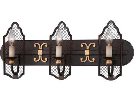 Metropolitan Lighting Cortona French Bronze with Gold Highligh Three-Lights Vanity Light