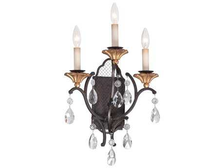Metropolitan Lighting Cortona French Bronze with Gold Highlight Three-Lights Wall Sconce